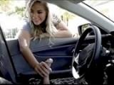 Blonde teen grabs and sucks cock threw car window