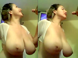 My cock slipping between a nice pair of boobs