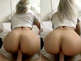 Blonde girlfriend fucked in her bedroom
